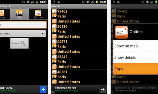 Zip Code Search: todos los códigos postales
