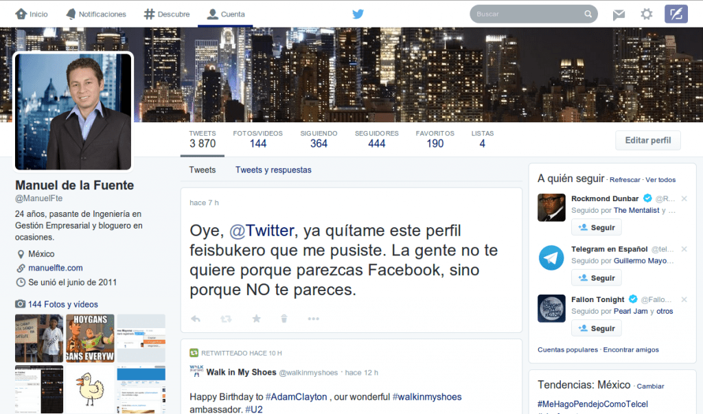 Nuevo perfil de Twitter