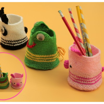 Portalápices en crochet con forma de panda