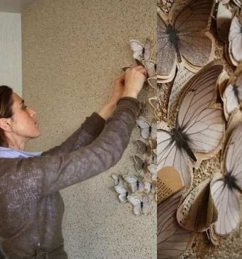 Diy decorar paredes con mariposas de papel bricoinventos - Decorar paredes facil ...