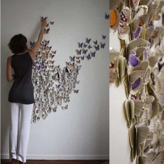 Diy decorar paredes con mariposas de papel bricoinventos - Decorar con papel ...