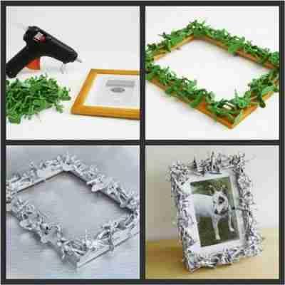 Cómo hacer un marco para fotos con juguetes reciclados