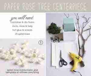 árbol de mesa con flores de papel